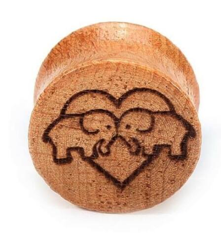 Pair Bamboo Wooden Carved Elephant Ear Plugs Flesh Tunnels Stretcher Taper