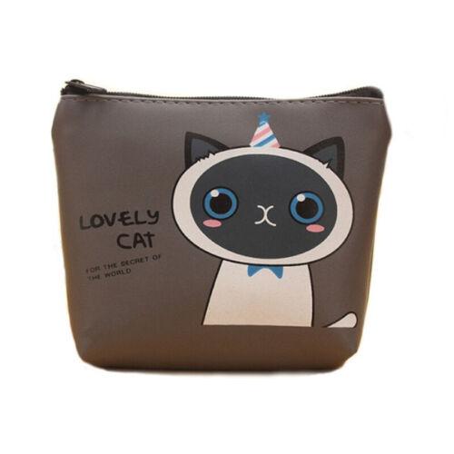 Lovely Girls Cartoon Cat Purse Wallet Zip Mini Pouch Bag Handbag PU Leather DP