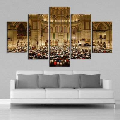 Islamic 5 Piece Canvas Wall Art Muslim Home Decor Allah Muhammad Quran Mecca