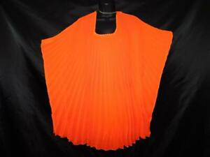 Steve-Madden-Orange-Red-Micropleat-Caftan-Tunic-Shirt-Beach-Cover-Up-Summer-OS