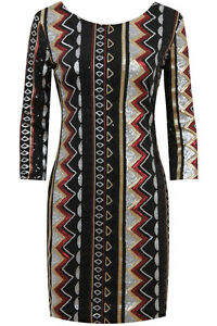 SALE-Sequin-Mini-Party-Dress-Gold-Silver-Black-Red-Zig-Zag-Aztec-Geo-Design-8-10