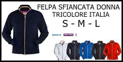 Maglia Felpa Donna Aperta Con Zip Italia Tricolore Sfiancata Sciancrata S M L Goods Of Every Description Are Available Other