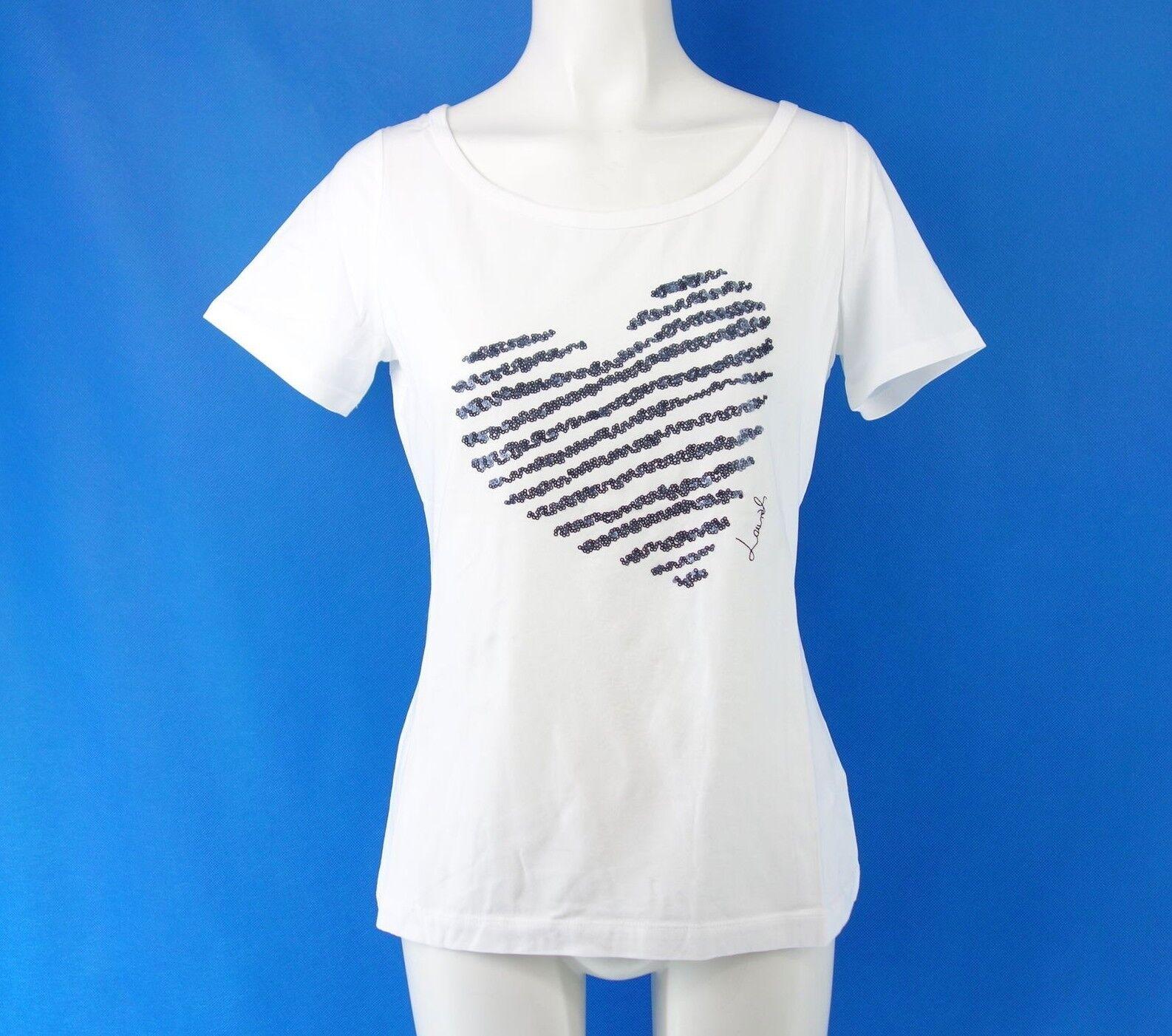 LAURÈL Laurel Damen Shirt 48248 Gr 38 42 Weiß Pailletten Herz Blau NP 99 NEU