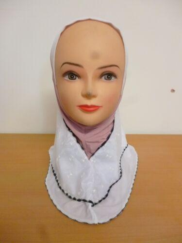 Kids Girls Muslim Islamic Hijab 2 Tone Scarf One Piece Many Colour Stretchable