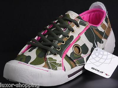 NEU Gola Bound Camouflage braun grün pink Canvas Damen / Mädchen Sneaker Schuhe