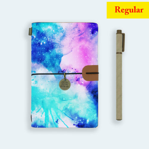 GENUINE LEATHER JOURNAL TRAVEL DIARY TRAVELERS REGULAR SIZE WATERCOLOR UNIVERSE