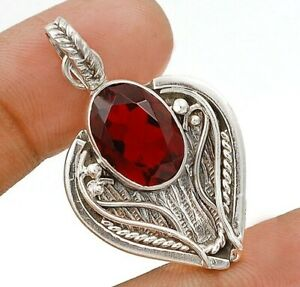 10CT Fire Garnet 925 Solid Sterling Silver Pendant Jewelry ED34-2