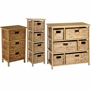 Image Is Loading Wooden Storage Unit With Wicker Basket Drawers Large