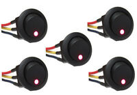 5 Pcs - Green Led Rocker Switch 12v Round Toggle On Off 12 Volt W/ 6 Wire Leads