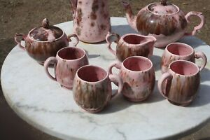 Folk Art Mid Century, Pink & Brown Coffe Pot, 5 Cups, Cream & Sugar, & Pitcher