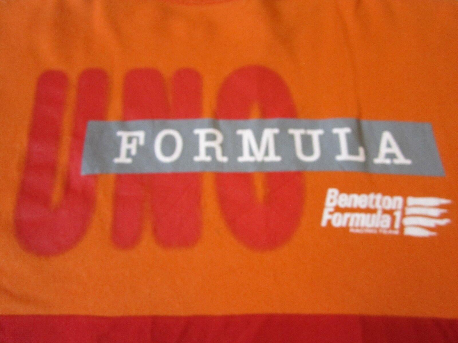 BENETTON FORMULA 1 RACING TEAM UNO SEWN F1 VINTAGE 1980-1990's T-SHIRT-MED RARE