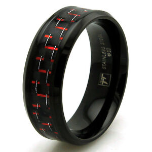 Stainless Steel Red Carbon Fiber Personalized Black Mens Wedding