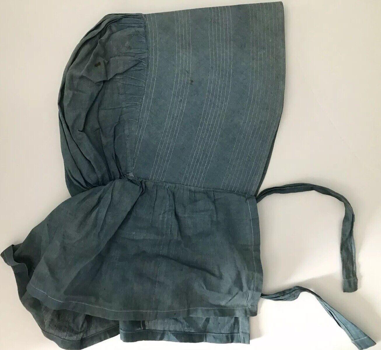 Antique Blue Bonnet 1800s Prairie Women's Victori… - image 2