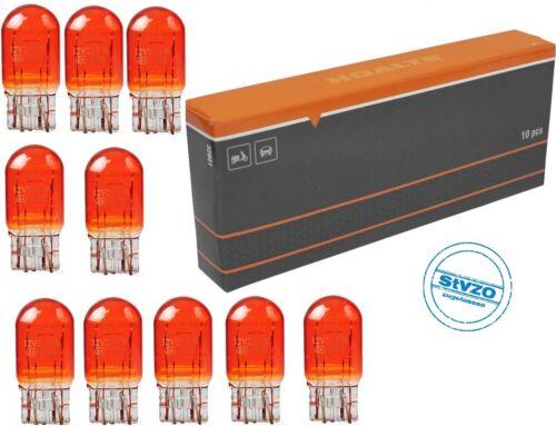 12v 21//5w wy21//5w w3x16q t20 Amber bombilla de cristal lámpara zócalo Long Live 10 St