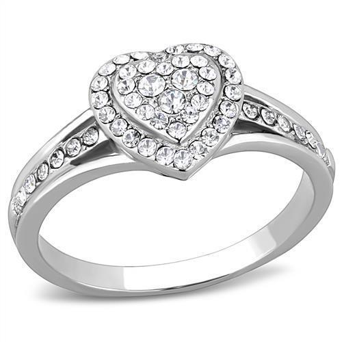 Women/'s Coctail Top Grade Crystal Clear Stainless Hearth Shaped Ring 5-10 TK3249