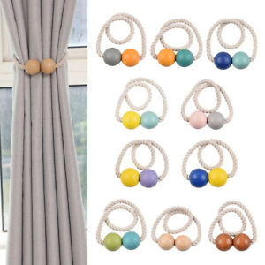2 Pack Wooden Beads Ball Magnetic Window Curtain Holdback Tieback Treatments