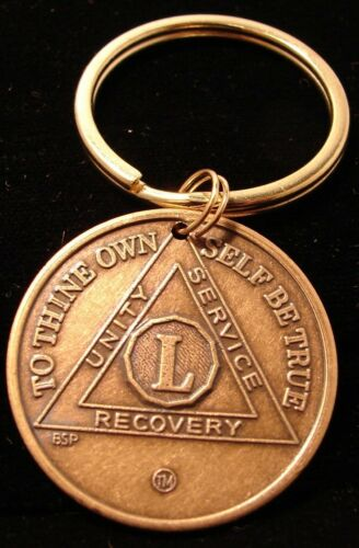 Alcoholics Anonymous AA 50 Year NEW  Bronze Keychain  Medallion Token Coin Chip