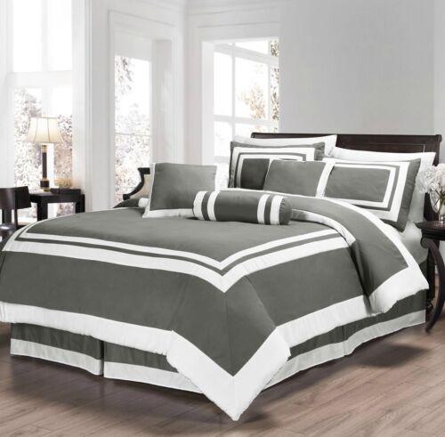 Elegant Chic Hotel Design Black White Grey Comforter 7 pcs Cal King Queen Set