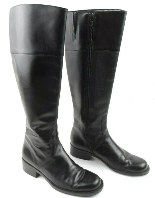 Talbots Womens Riding Boots Leather Knee High Side Zipper Black Size 6 Narrow