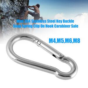 HO-CO-Mini-Stainless-Steel-Carabiner-Key-Chain-Keychain-Clip-Hook-Outdoor-Buck