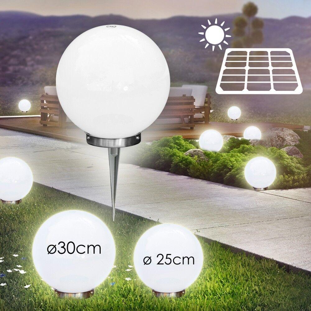 Solar bala luminarias set 25cm & 30cm porche lámpara de jardín acero inoxidable aussenlampe