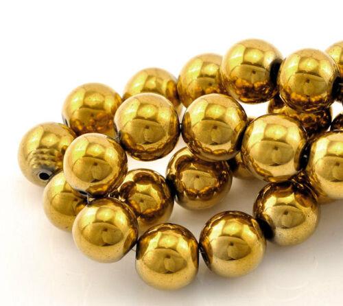 15 Gold Plated Hematite Gemstone Beads 12mm BD176