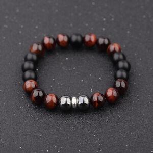 Men-STAINLESS-STEEL-10mm-Tigers-Eye-Hematite-Onyx-Gemstone-Beaded-Bracelets-Gift