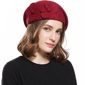 Fashion Winter Women s Beret Hats Top Hat Warm Beanie Woolen Cap ... 4d4664885
