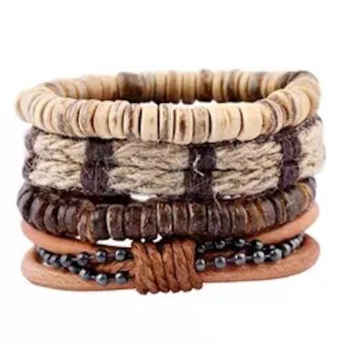 Unisex Stacker Leather Bracelet Stacking Wide Multi Row Layer Stack Wristband