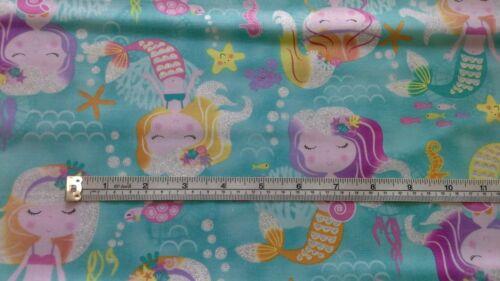 GL21960 Mermaid Wishes Glittery Fabric,100/% cotton mermaids,star fish