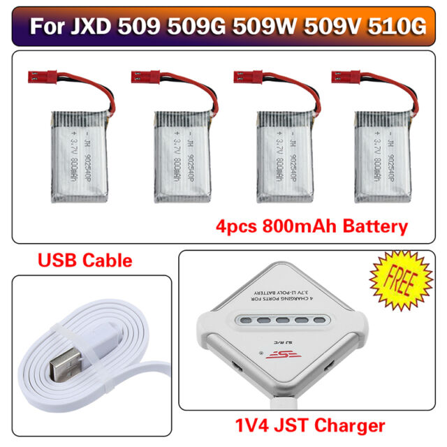 4X 3.7V 800mAh Battery+JST 4in1 USB Charger Kit For JXD 509G 509W 510G RC Drone