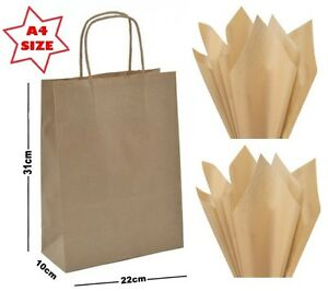 30 x Paper Party Gift Bags SIZE A4 ~ Boutique Shop Loot Carrier Bag ~Pick Colour