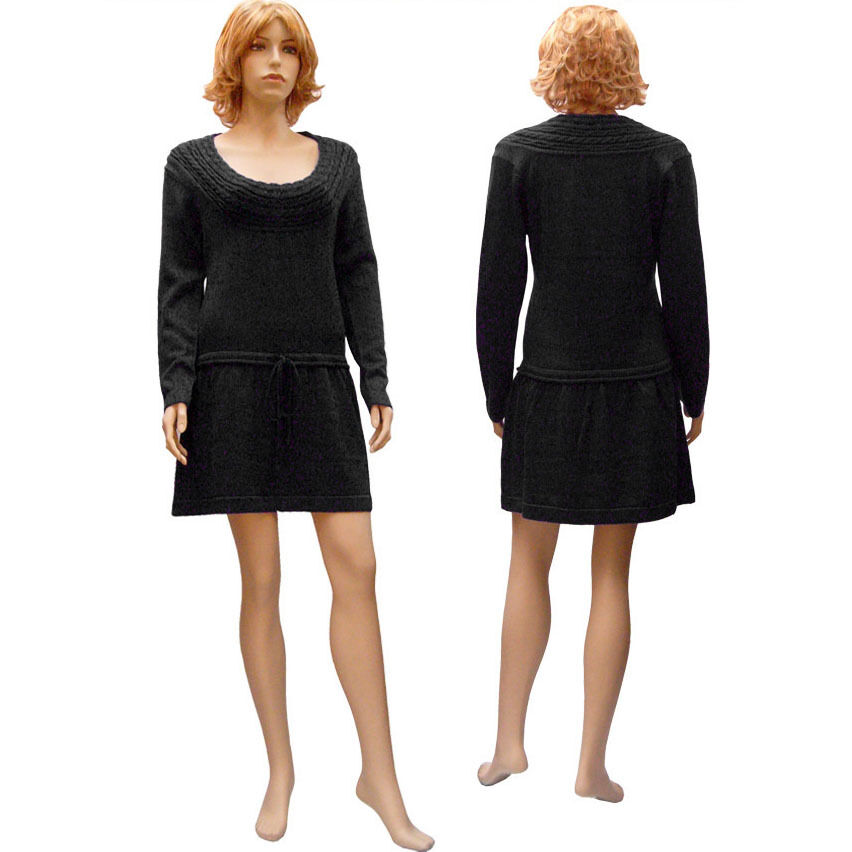 Robe Pull Élégante - Décolleté Arrondi Sexy - blackE - size 38 40