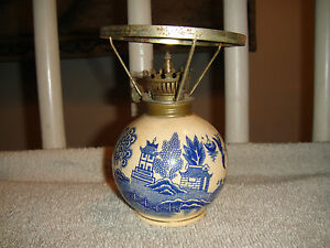 Image Is Loading Vintage Blue Willow Oil Lamp Bulb