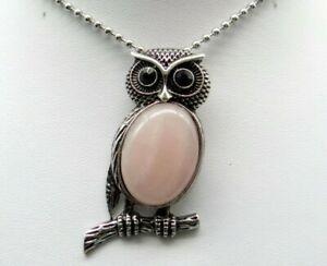 Natural-Rose-Qua-Gem-beads-animal-Owl-Retro-Silver-Pendant-necklace-Jewelry-P1