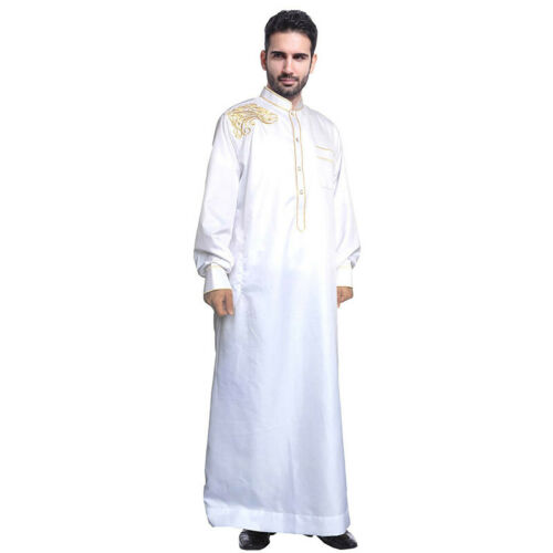 Mens Muslim Long Sleeve Robe Saudi Thobe Abaya Jilbab Loose Robe Dresses Islamic