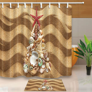Merry Christmas Sea Shells Fir Tree Sand Bathroom Fabric Shower Curtain Set 71in Ebay