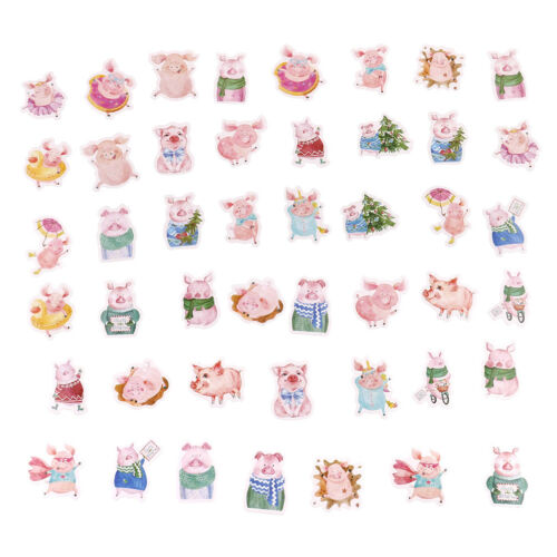 46pcs pink pig paper decor diy diary scrapbooking label sticker AP WL