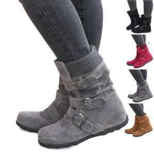 US-Womens-Winter-Warm-Ankle-Boots-Ladies-Fur-Snow-Buckle-Flat-Suede-Shoes-Size-9