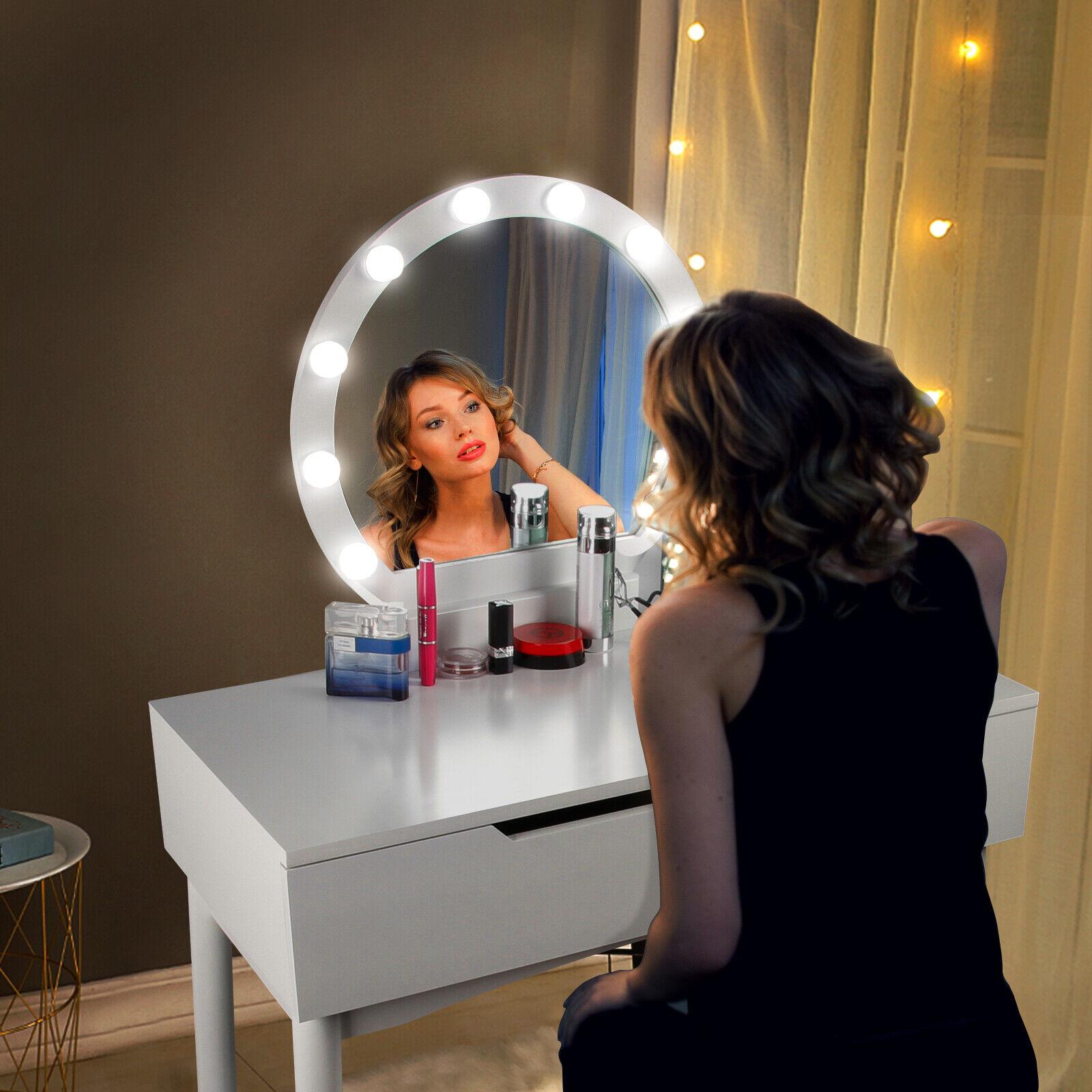 colore: Bianco con 2 cassetti Set da tavolo da trucco con specchio e sgabello DlandHome in legno per camera da letto