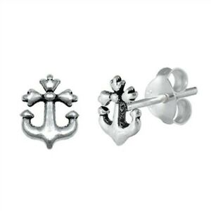 Anchor-Stud-Earrings-Genuine-Sterling-Silver-925-Jewelry-Product-Height-7-mm