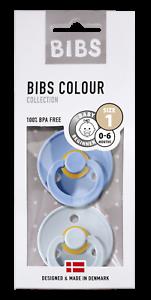 Bibs chupete Colour 2er Pack talla 1 , 0-6m Sky Blue//Baby Blue