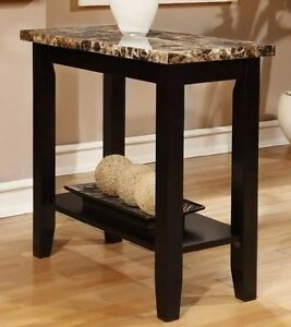 Rectangular Black Faux Marble Top Chair Side Table End