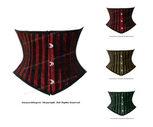 22 Double Steel Boned Waist Training Brocade Stripe Underbust Corset #8419-STR