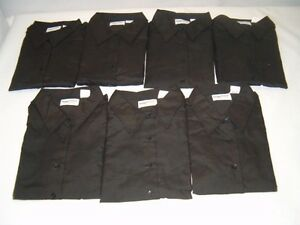 Lot-of-7-Womens-Size-Large-Black-Long-Sleeve-Dress-Shirts-by-Image-First-NEW