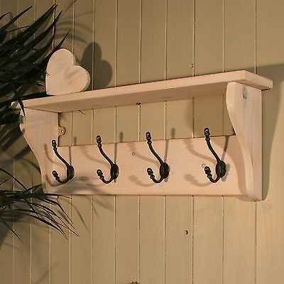 Hat Coat Rack With Shelf In Shabby Chic Distressed White Wash From Good Ebay