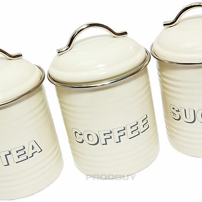 Vintage Cream Enamel Tea Coffee Sugar Kitchen Storage Canisters Jars Pots Set