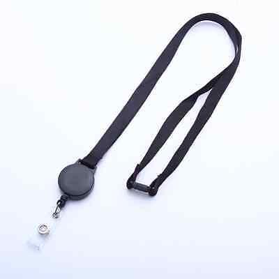 Lot of 100 50 25  Black Flat Lanyards W/ Breakaway & Slotted Badge Reel Strip
