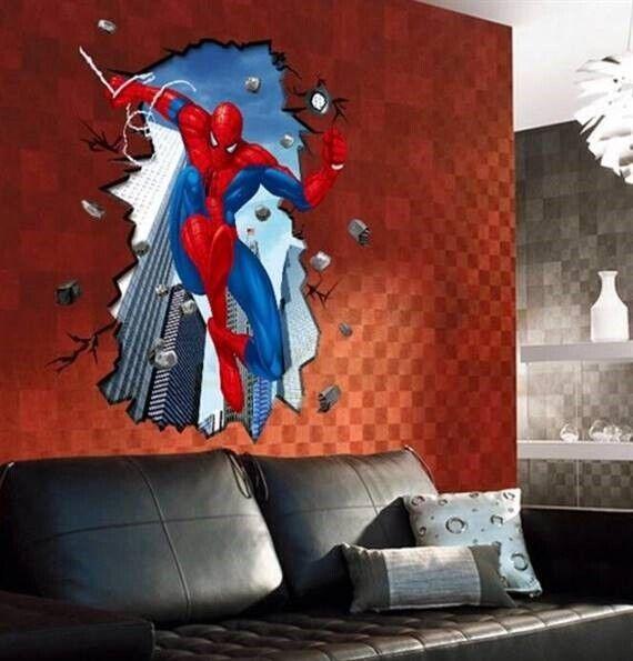 Wallstickers, Spiderman STOR wallstickers med Spiderman