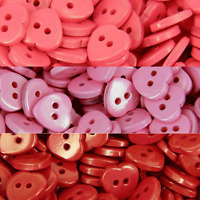 HEART BUTTONS - 2 HOLE STYLE RED PINK CORAL CRAFT CARDS SEWING B110